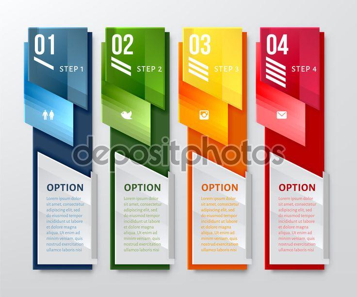 Plantilla de banderas número de diseño vertical. Puede utilizarse para el diseño de flujo, diagrama, números opciones, diseño web
