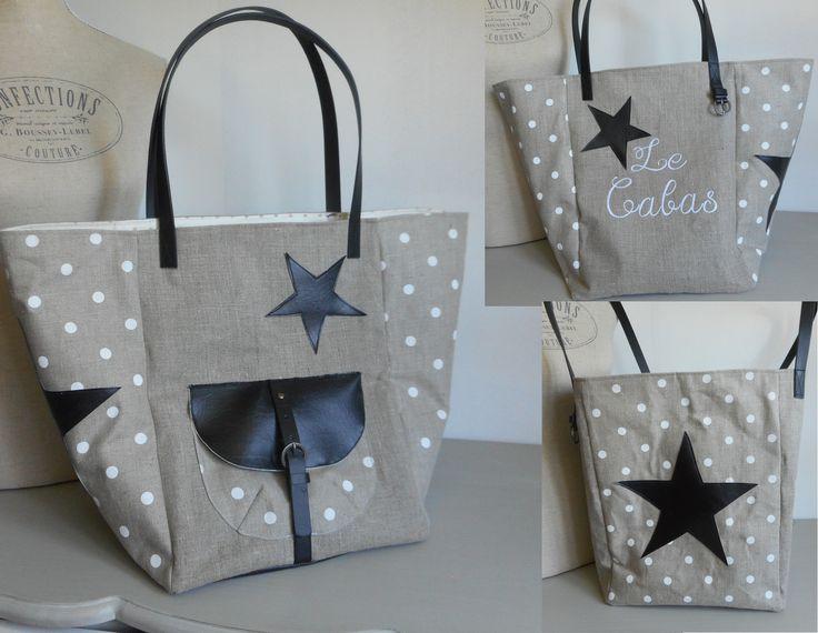 """Grand sac cabas 54X36 cm """"Le Cabas lin et pois blanc"""" lin, simili cuir, beige, noir, blanc, : Sacs à main par miss-coopecoll"""