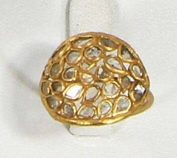 Ring in 925 Sterling silver with 18kt Gold Micron filling with Diamond slices.