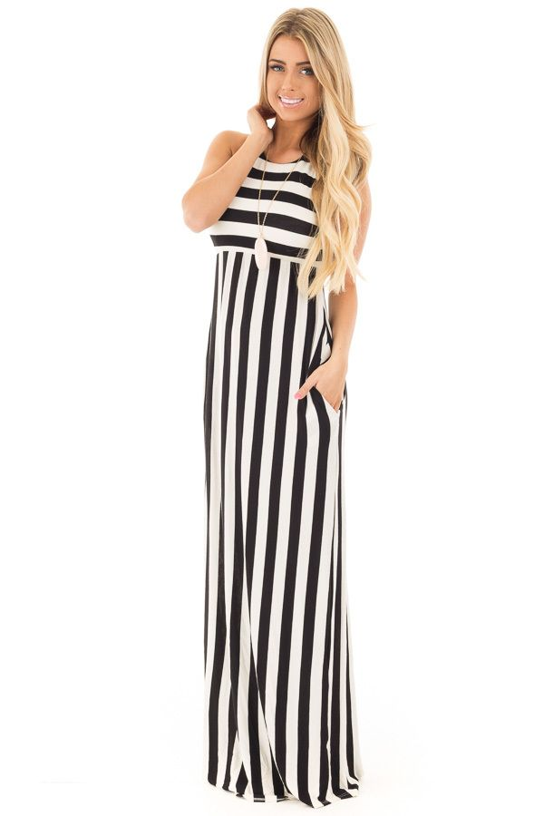 Lime Lush Boutique - Black and White Striped Tank Maxi Dress with Side Pockets, $44.99 (https://www.limelush.com/black-and-white-striped-tank-maxi-dress-with-side-pockets/)