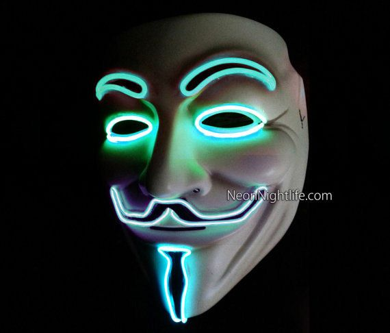 Glowing V for Vendetta, Guy Fawkes Mask, Battery Powered, Rave Wear, Glow in the Dark Masquerade, Light Up, LED