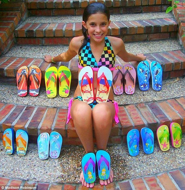 At the age of 15, most girls are just learning about fashion. But Madison Robinson is already on track to becoming a millionaire thanks to an ingenious design for light-up flip-flops for kids.  The teenager, from Galveston Island, Texas, came up with the idea for Fish Flops at the age of just eight.