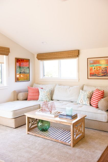 twin sized mattresses on a sectional (J's room?)   beach style bedroom by Ashley Camper Photography