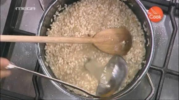 Ριζότο με καλαμπόκι, απάκι, εστραγκόν και γαρίδες