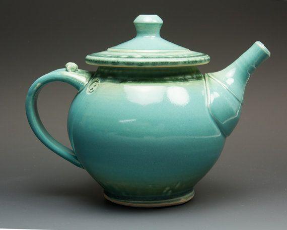 Handmade stoneware teapot 4 cup turquoise tea by BlueParrotPots
