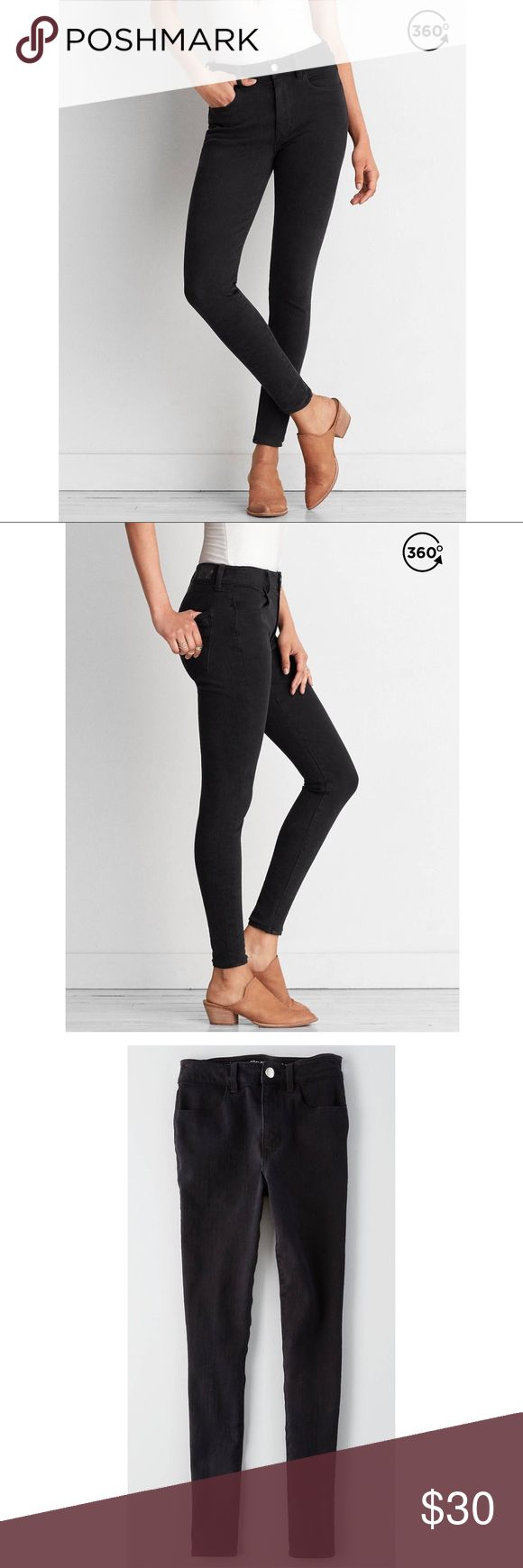 """🆕American Eagle 🦅Hi-Rise American Eagle X4 Hi-Rise Black Jeggings Power Fit 360, Super Stretch denim Revolutionary 4-way stretch for advanced body contouring that won't bag out Stretch moves both up & down and side to side;Vertical stretch is designed to lift the butt and help contour the leg High 10 1/8"""" rise 14 3/8"""" back rise 9 3/4"""" leg opening for a legging-like fit Material is  71% Cotton, 14% Viscose, 11% Polyester, 4% Elastane American Eagle Outfitters Jeans Skinny"""