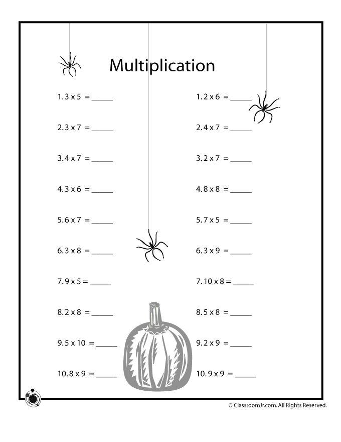 Halloween Math Worksheets Halloween Math Worksheets - Decimal Multiplication – Classroom Jr.