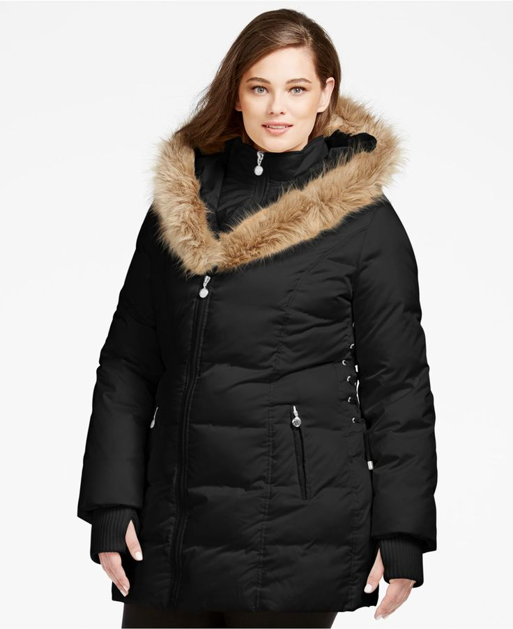 Plus Size Down Coat With Fur Hood