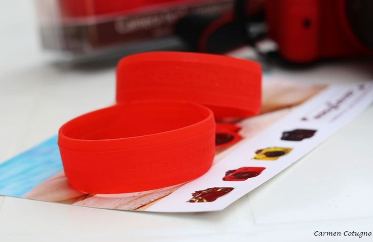 Red easyCover Lens Rim taking a rest on our flyer