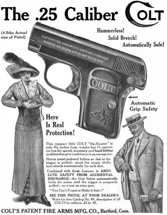 .25 Caliber COLT Firearm (1912) Vintage Ad