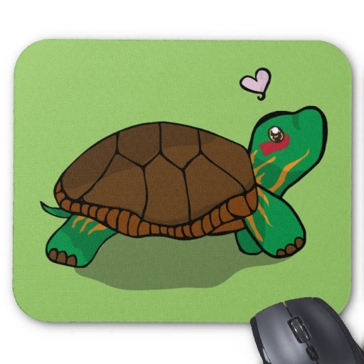 Cute Painted Turtle Red Mousepad
