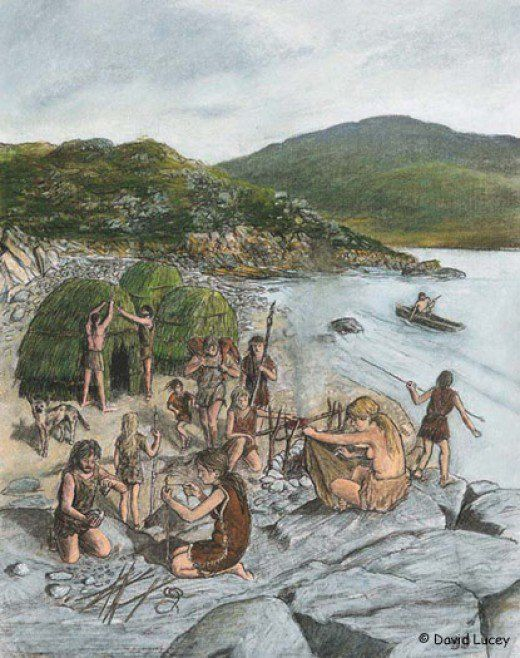 The first people in Ireland were hunter gatherers, and they almost certainly migrated from Britain to Ireland as the last ice age ended. The earliest known site of human habitation in Ireland is at Mountsandel, near Coleraine in Northern Ireland....