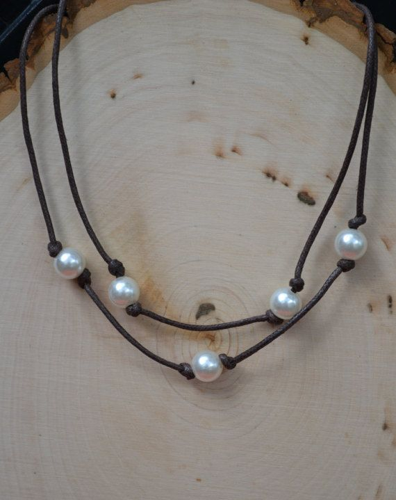 Surfer Style Double Wrap 5 Pearl Necklace by The Peaceful ...