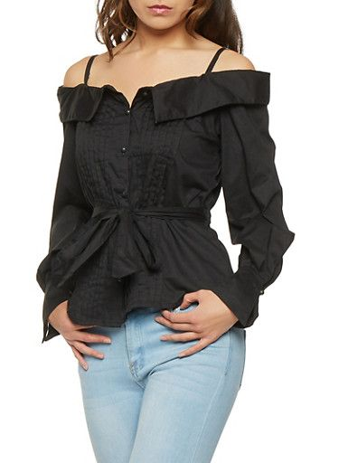 f9f5848cdbfb27 Pleated Off the Shoulder Button Front Top,BLACK $10.99 rainbow ...