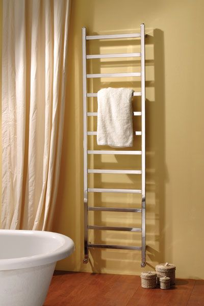 Climber - Step up to this tall, elegant yet beautifully practical square tubed stainless steel ladder-style towel rail.