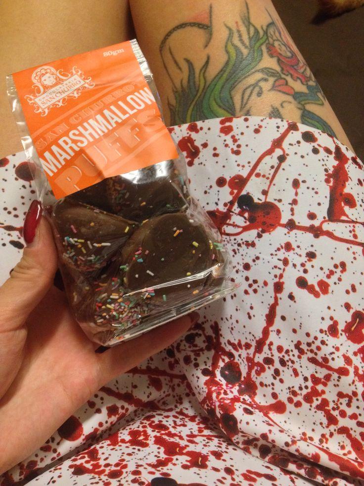 Marshmallow covered chocolate &  BLACK MILK CLOTHING - Blood Splatter Skater Dress