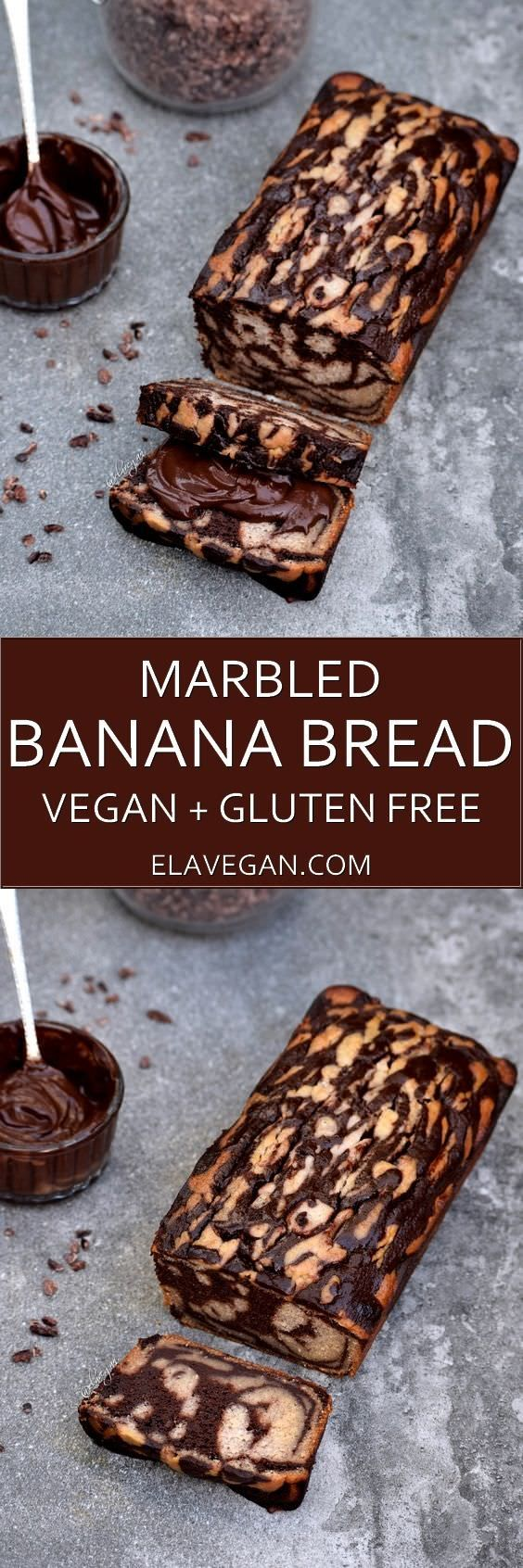 Marbled banana bread recipe. This delicious banana loaf is moist, chocolately, low in fat, egg free, dairy, free, refined sugar free, gluten free and of course vegan. Serve it with a homemade chocolate spread.
