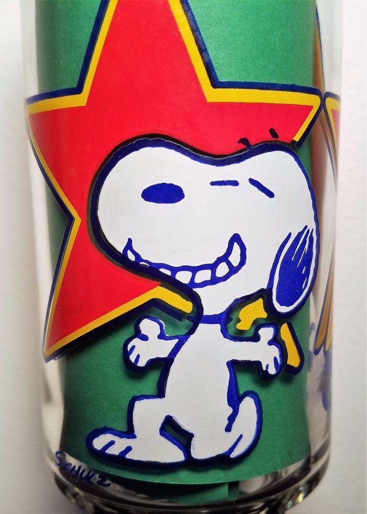 Snoopy & Woodstock Peanuts Characters - Vintage 1980's Superstar Pedestal Glass