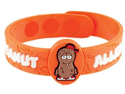 AllerMates PEANUT Allergy Wristband alert Medical ID Silicone Bracelet jewel NEW