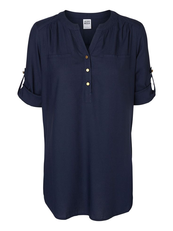 Dark blue shirt from VERO MODA. Wear this with a pair of blue denim jeans for a classic look.