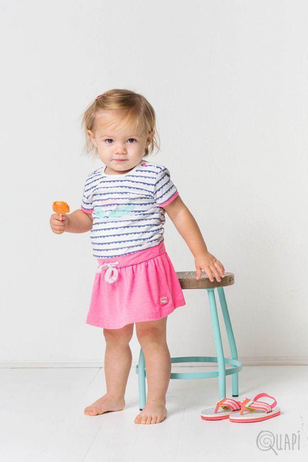 Quapi | Dress Felicia Jeans Blue Stripe | Flipflops Frea Jeans Blue Stripe