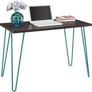 Ameriwood Montrose Espresso/Teal Retro Desk-HD97433 - The Home Depot