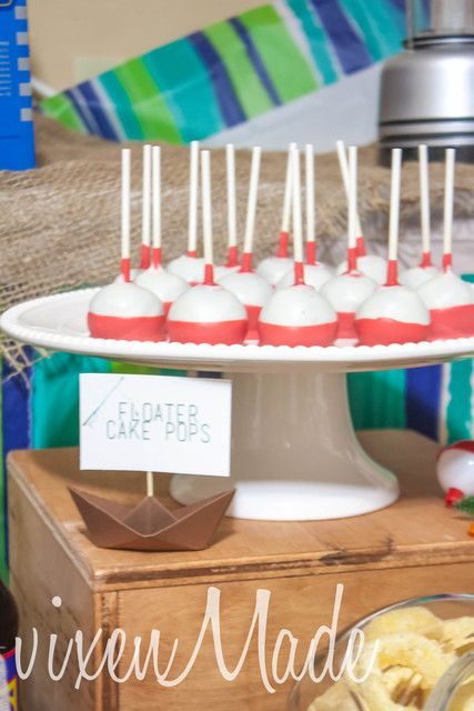 Fun cake pops at a Fishing boy birthday party!  See more party ideas at CatchMyParty.com!