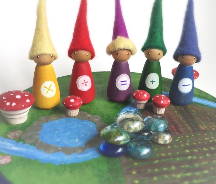 A personal favorite from my Etsy shop https://www.etsy.com/listing/292923917/math-gnomes-set-of-5-peg-dolls-four
