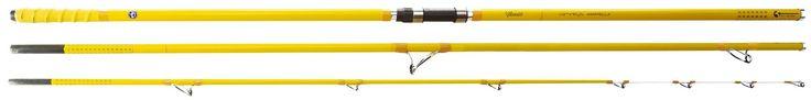 CAÑAS DE PESCAR VERCELLI SPYRA AMARELLA Modelo  DVSAM4203 Condición  Nuevo  Las cañas de pesca ESPYRA AMARELLA de VERCELLI son unas fantásticas cañas surfcasting ligeras, de un diámetro fino y muy equilibradas, fabricadas en carbono, (HI-Modulus Carbón) su anilla de salida es invertida y el porta carretes también es de la marca FUJI (FUJI DPS LUXE) de rosca con almohadilla incorporada