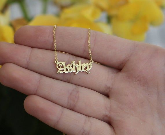 14k Solid Gold Tiny Name Necklace Name Necklace Personalized Etsy Bridesmaid Necklace Gift Gold Name Necklace Gold Necklace