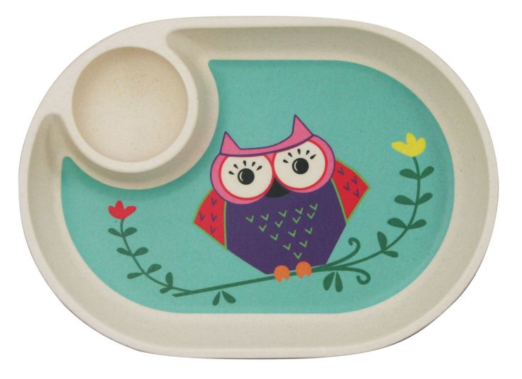 Ecobamboo Ware Babies/Kids/Toddlers Bamboo Small Tray/Plate, Owl