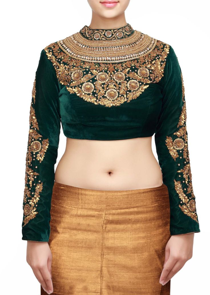 Green blouse in high neckline embroidered in sequence and zardosi only on Kalki