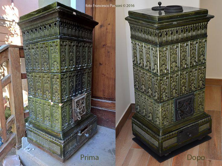 Restauro di piccola stufa in maiolica di inizi '900, provenienza Milanese. Restauro esclusivamente estetico.