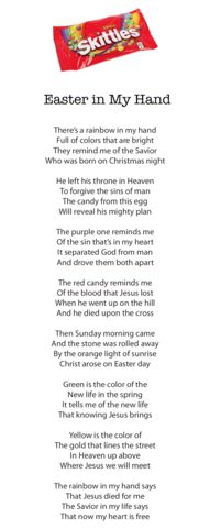 Printable Easter Skittles Poem. Teach kids the Easter story using Skittles.