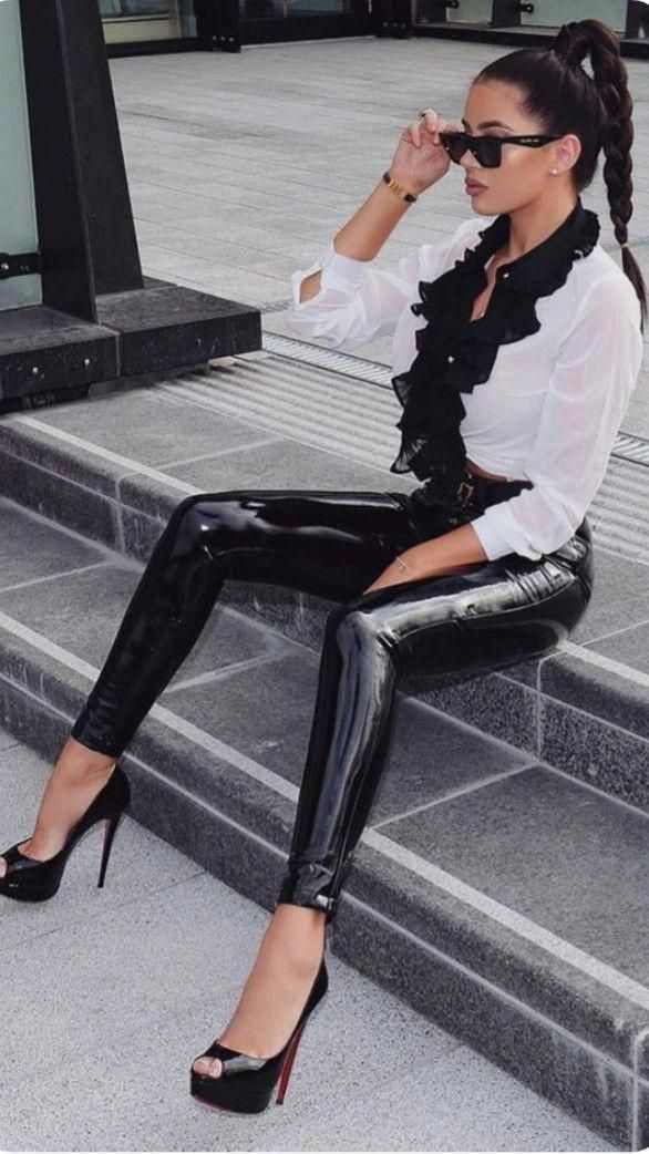 c0117a2f3406 #Hothighheels   Hot high heels in 2019   Latex pants, Leather trousers,  Leather Leggings