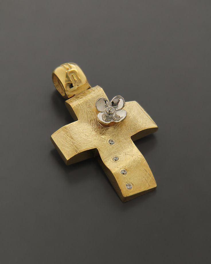 Σταυρός Χρυσός & Λευκόχρυσος K14 με Ζιργκόν | eleftheriouonline.gr