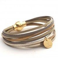 Bracelet en cuir multiliens multicolore laiton/doré