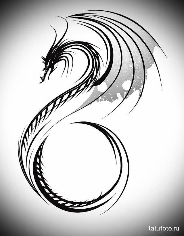 эскиз дракон на шее тату 3