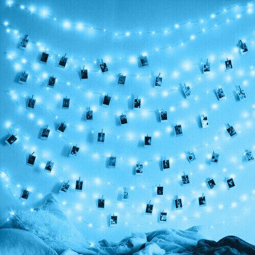 blue, fairy lights, photos, polaroids, bedding