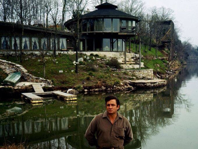 Image result for Johnny Cash in front of the lake house in Hendersonville. TN.
