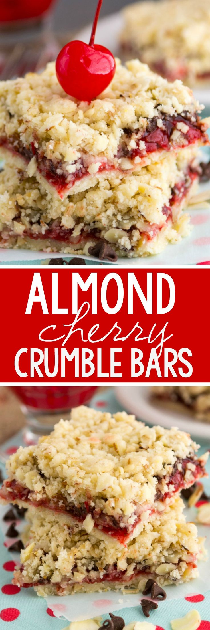 Almond Chocolate Cherry Crumble Bars - these EASY pie bars are crumbly and full of almonds, maraschino cherries and CHOCOLATE!