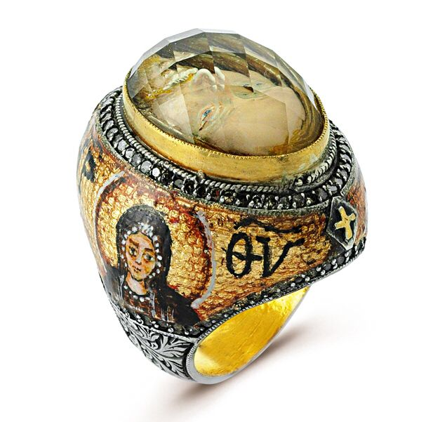 "It's an ""ART IS IT"" collection from Diamera  which is studded with diamonds and Hand painted with Mother Mary on this side with mosaic effect and ottoman style carving on outskirts of ""JESUS"" ring with 24k /925, beautiful Jesus face hand carved inside the stone with reverse-intaglio technique. A  meager glance at it will make you pious.   ""Neighbors Envy Owners Pride"" isn't it !!!!!"