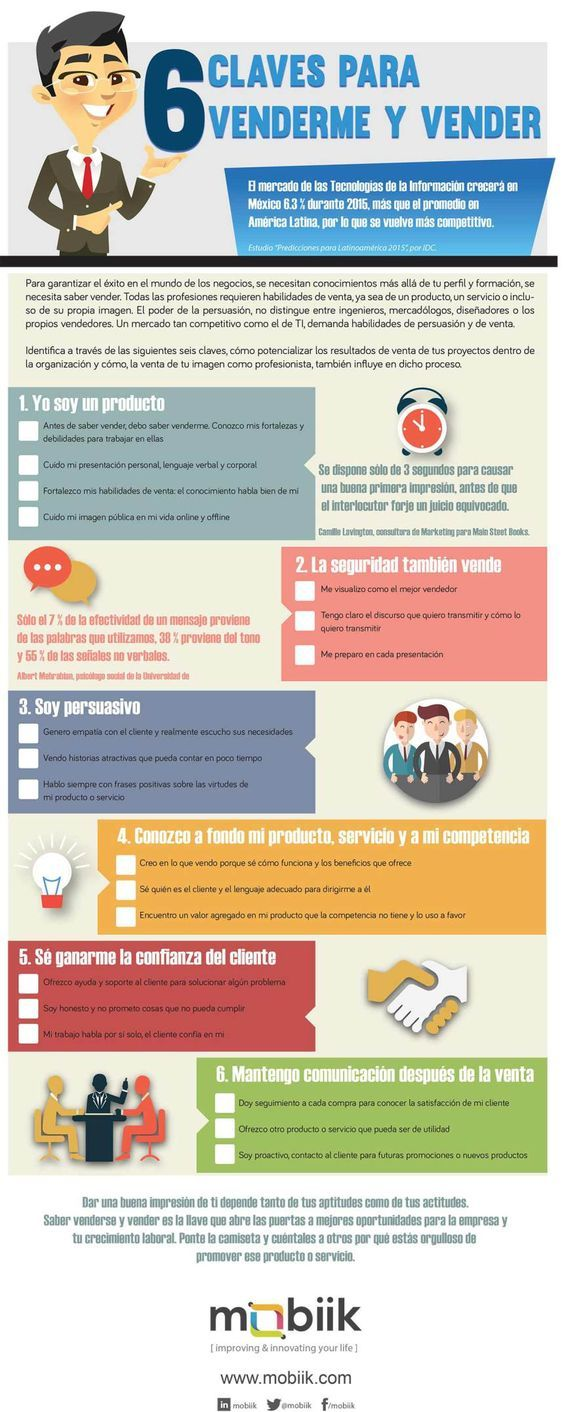 6 claves para venderme y vender #infografia #infographic #marketing