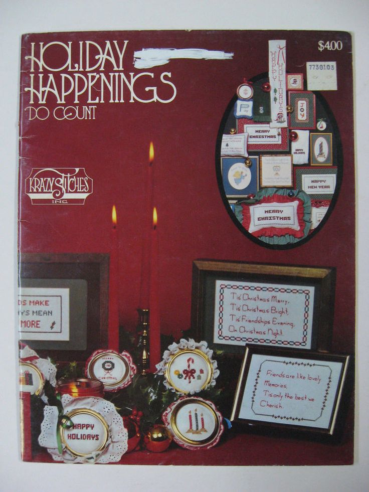 Vintage Christmas Cross Stitch Patterns Book Holiday Happenings Do Count 1980's #KrazyStitchesInc