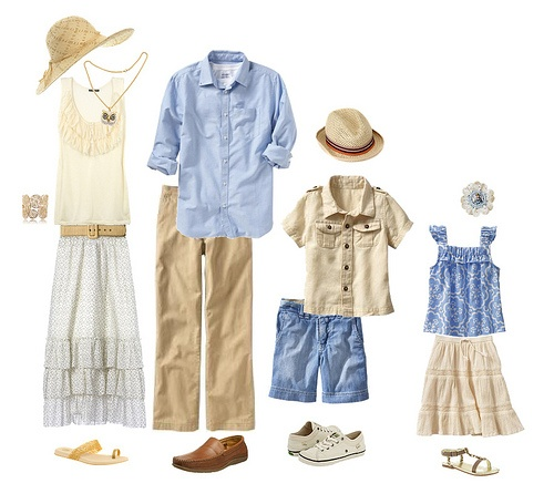 """This """"beachy"""" palette of beige, white, blue and chambray would be great for oceanside portraits!"""