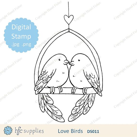 Love Birds Digital Stamp - line art  2 birds and heart, valentine's day, wedding, anniversary by hfcSupplies on Etsy.