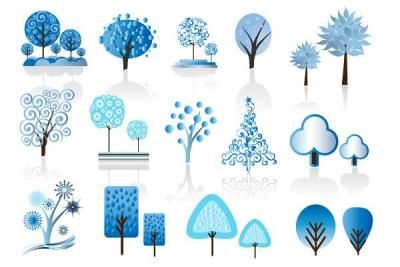 A set of 14 blue winter trees in vector .eps format. Slightly abstract with various design elements mixed in.