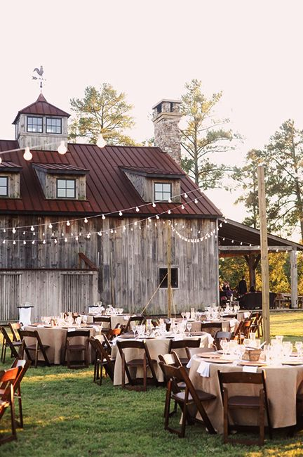 Aside from the lights this would be cute for a rustic country style wedding :)