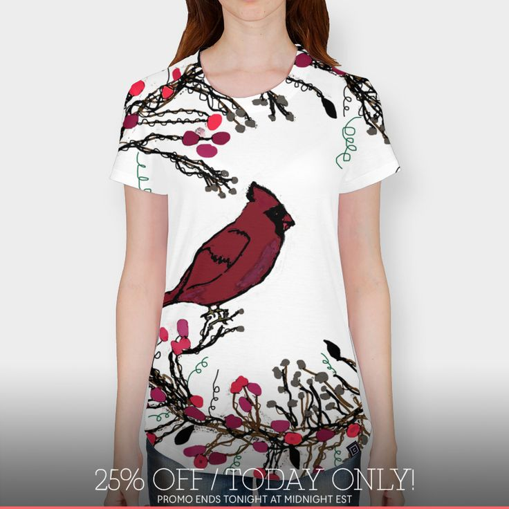 Discover «Winter Wreath and Cardinal», Limited Edition Women's All Over T-Shirt by Deb Quigg - From $49 - Curioos