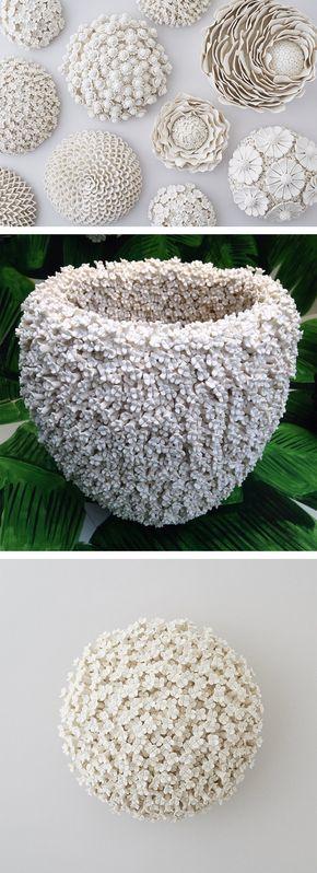 Ornate Ceramic Vessels Encased in Porcelain Flowers by Artist Vanessa Hogge